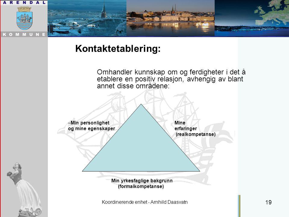 Koordinerende enhet - Arnhild Daasvatn 19 Individuell plan Kontaktetablering: Omhandler kunnskap om og ferdigheter i det å etablere en positiv relasjon, avhengig av blant annet disse områdene: –Min personlighet Mine og mine egenskaper erfaringer (realkompetanse) Min yrkesfaglige bakgrunn (formalkompetanse)