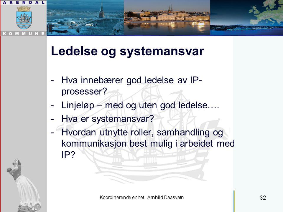 Koordinerende enhet - Arnhild Daasvatn 32 Ledelse og systemansvar -Hva innebærer god ledelse av IP- prosesser.