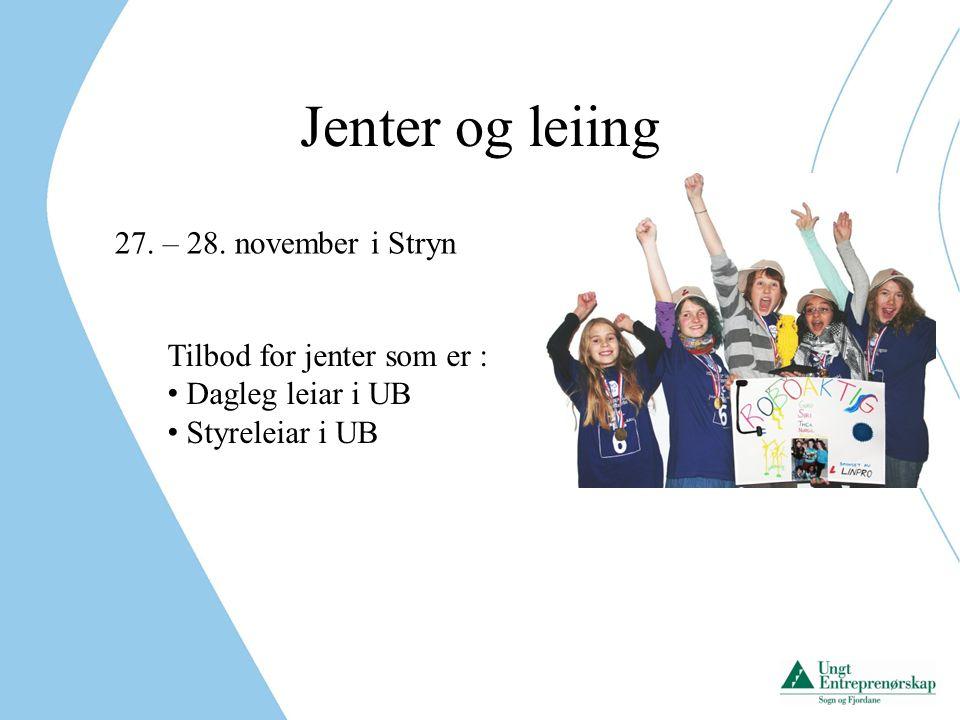 Jenter og leiing 27.– 28. november i Stryn Tema : Inspirasjon til å drive UB.