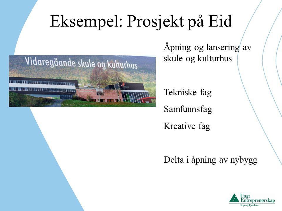 Eksempel: Prosjekt i Høyanger Bidra i samarbeid skule / næringsliv.