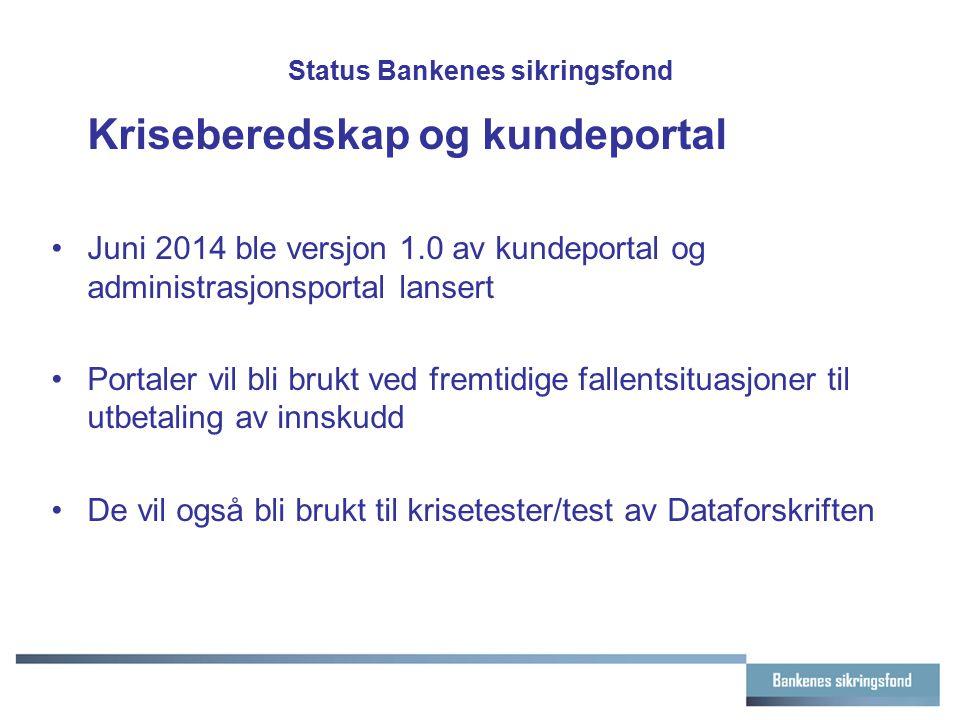 Status Bankenes sikringsfond Kriseberedskap og kundeportal Juni 2014 ble versjon 1.0 av kundeportal og administrasjonsportal lansert Portaler vil bli