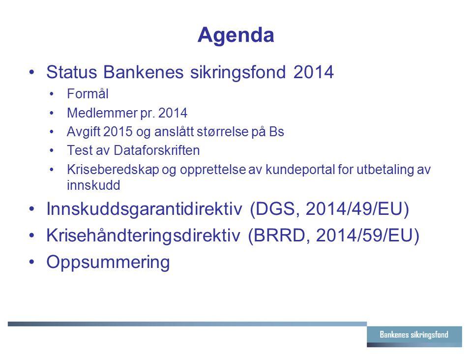 Agenda Status Bankenes sikringsfond 2014 Formål Medlemmer pr. 2014 Avgift 2015 og anslått størrelse på Bs Test av Dataforskriften Kriseberedskap og op