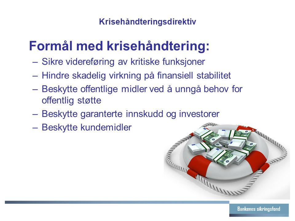 Krisehåndteringsdirektiv Formål med krisehåndtering: –Sikre videreføring av kritiske funksjoner –Hindre skadelig virkning på finansiell stabilitet –Be
