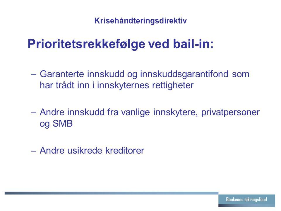 Krisehåndteringsdirektiv Prioritetsrekkefølge ved bail-in: –Garanterte innskudd og innskuddsgarantifond som har trådt inn i innskyternes rettigheter –