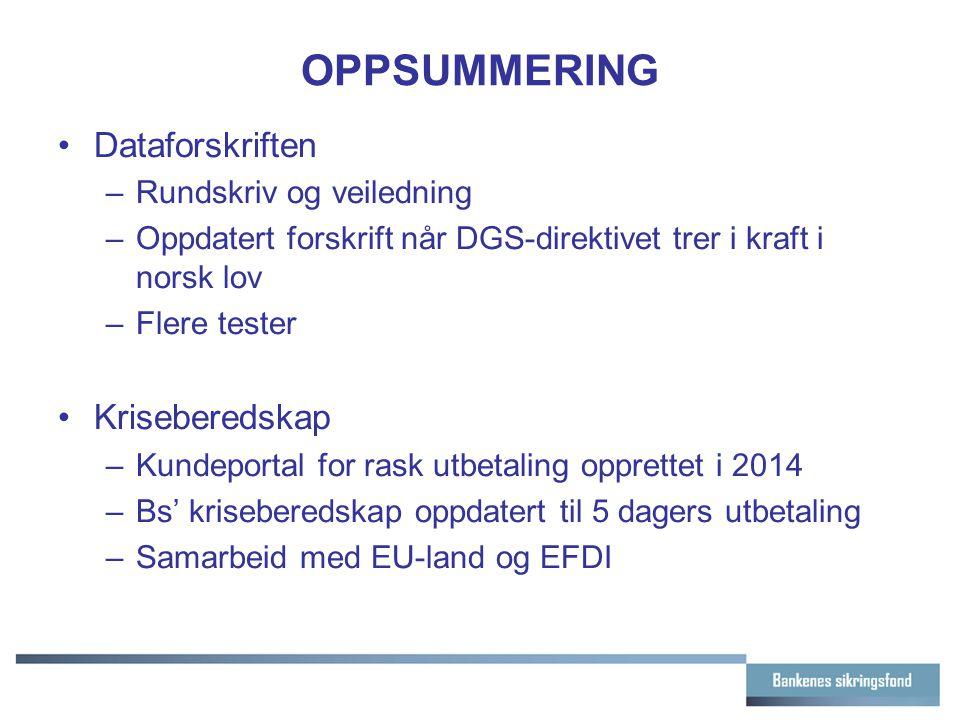 OPPSUMMERING Dataforskriften –Rundskriv og veiledning –Oppdatert forskrift når DGS-direktivet trer i kraft i norsk lov –Flere tester Kriseberedskap –K