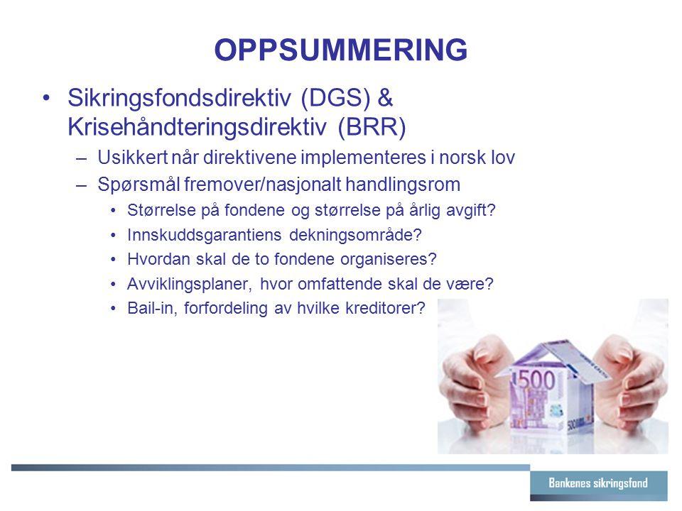 OPPSUMMERING Sikringsfondsdirektiv (DGS) & Krisehåndteringsdirektiv (BRR) –Usikkert når direktivene implementeres i norsk lov –Spørsmål fremover/nasjo