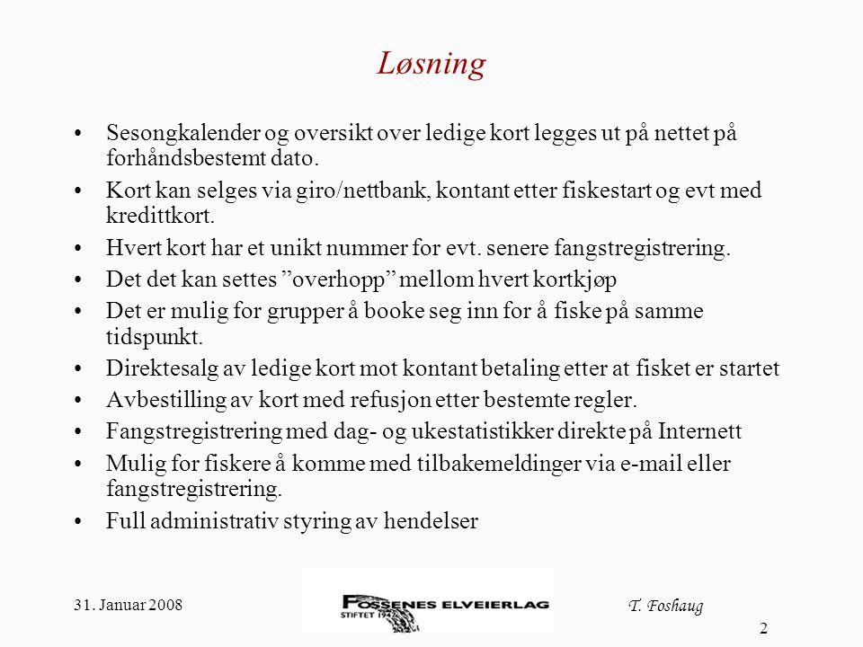 31. Januar 2008 T. Foshaug 2 Løsning Sesongkalender og oversikt over ledige kort legges ut på nettet på forhåndsbestemt dato. Kort kan selges via giro