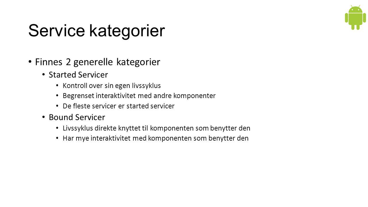 Service kategorier Finnes 2 generelle kategorier Started Servicer Kontroll over sin egen livssyklus Begrenset interaktivitet med andre komponenter De fleste servicer er started servicer Bound Servicer Livssyklus direkte knyttet til komponenten som benytter den Har mye interaktivitet med komponenten som benytter den