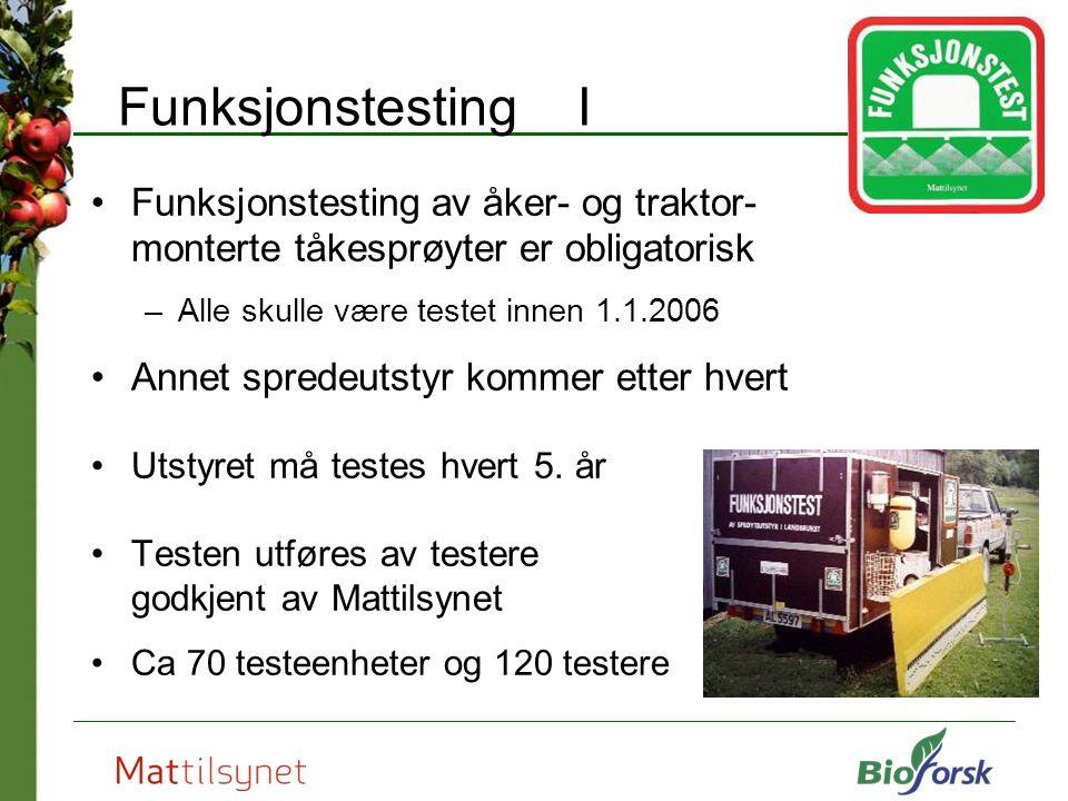 Funksjonstesting I Funksjonstesting av åker- og traktor- monterte tåkesprøyter er obligatorisk –Alle skulle være testet innen 1.1.2006 Annet spredeuts