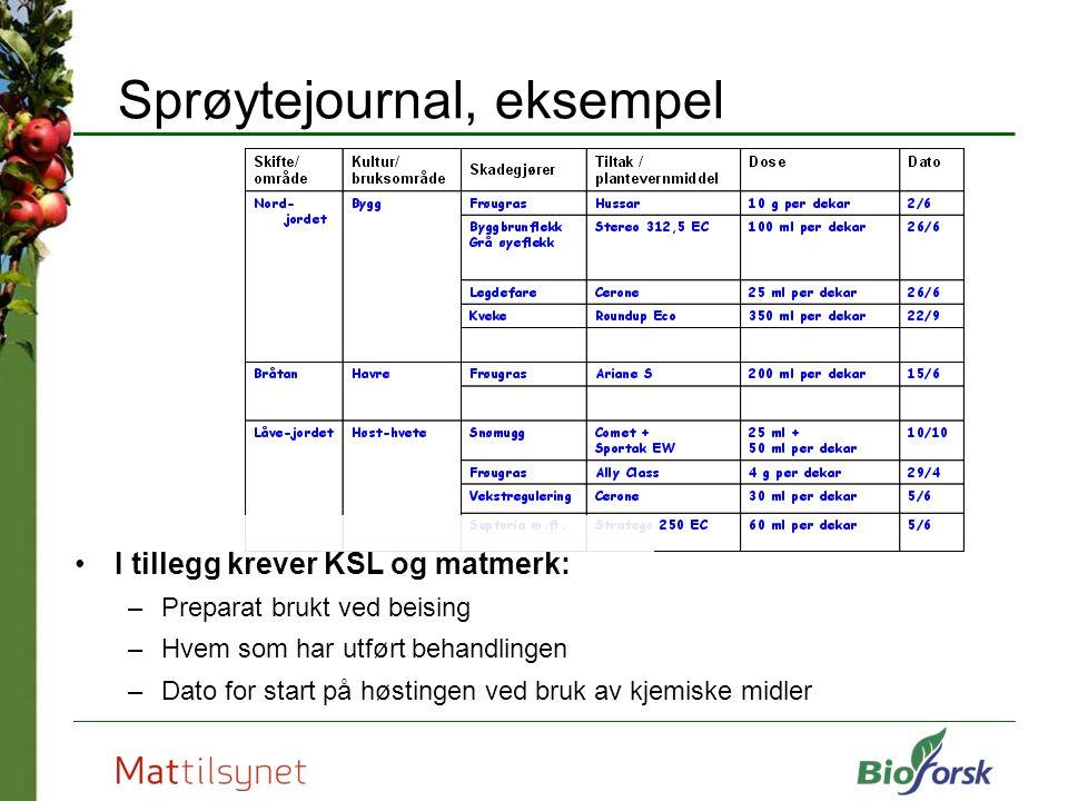 Sprøytejournal, eksempel I tillegg krever KSL og matmerk: –Preparat brukt ved beising –Hvem som har utført behandlingen –Dato for start på høstingen v