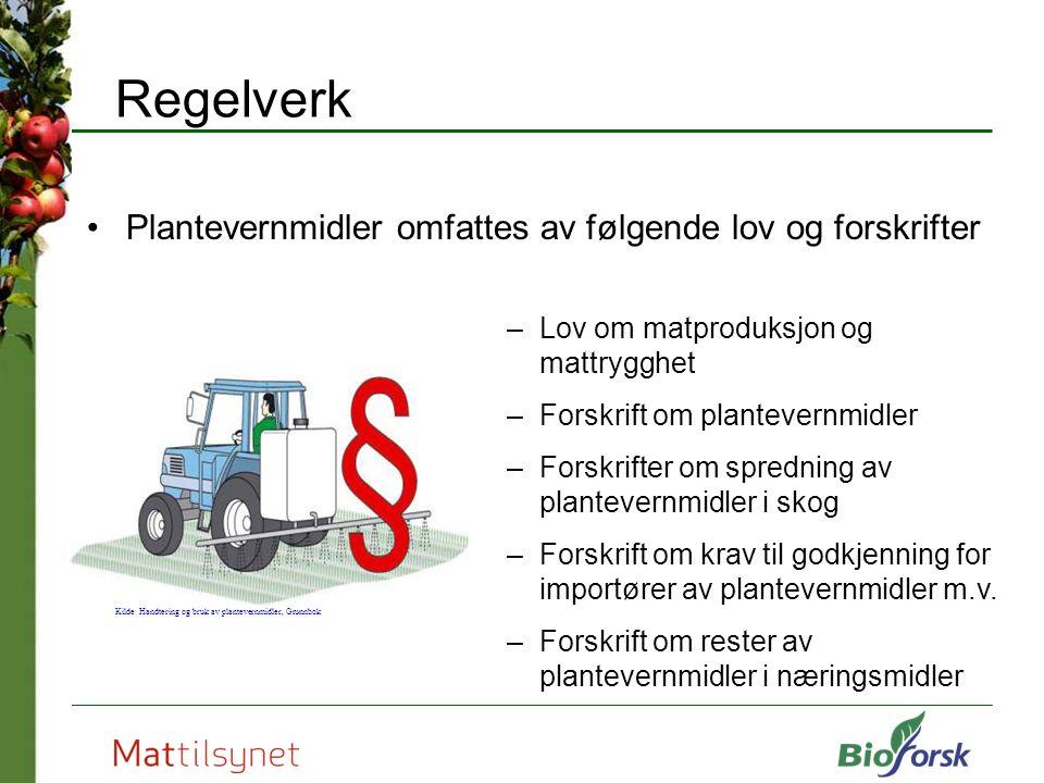 Regelverk Plantevernmidler omfattes av følgende lov og forskrifter –Lov om matproduksjon og mattrygghet –Forskrift om plantevernmidler –Forskrifter om