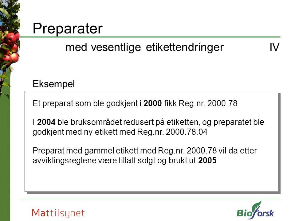 Preparater med vesentlige etikettendringer IV Eksempel Et preparat som ble godkjent i 2000 fikk Reg.nr. 2000.78 I 2004 ble bruksområdet redusert på et