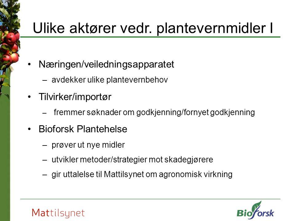 Ulike aktører vedr. plantevernmidler I Næringen/veiledningsapparatet –avdekker ulike plantevernbehov Tilvirker/importør – fremmer søknader om godkjenn