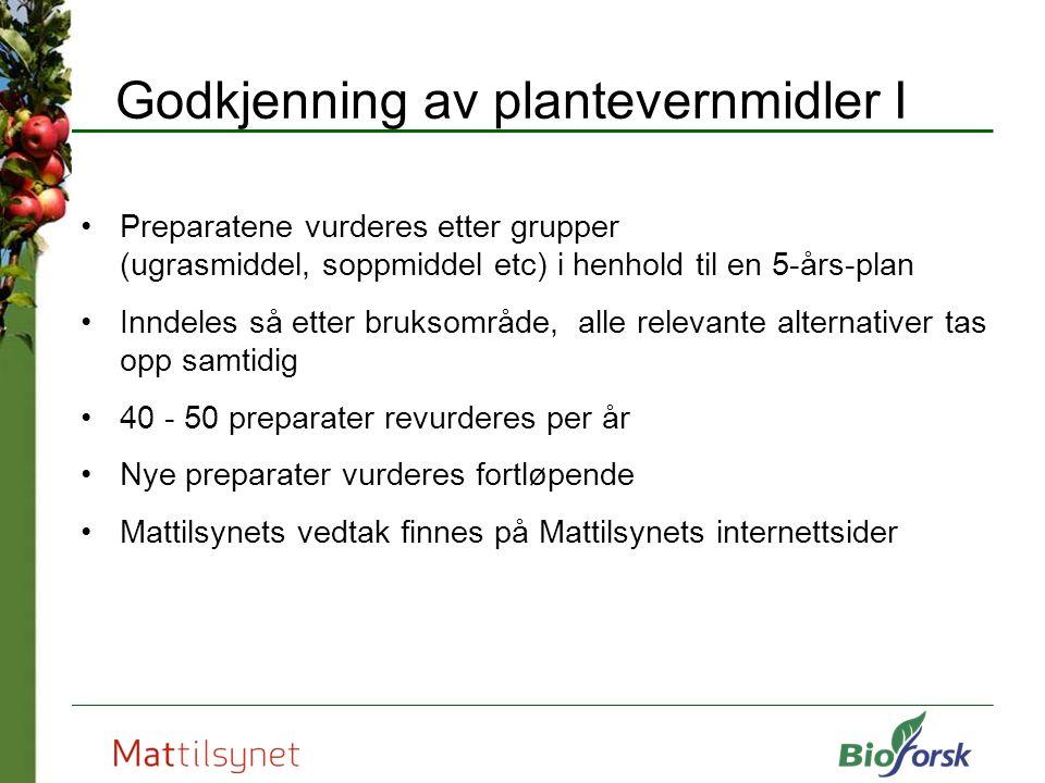 Godkjenning av plantevernmidler I Preparatene vurderes etter grupper (ugrasmiddel, soppmiddel etc) i henhold til en 5-års-plan Inndeles så etter bruks