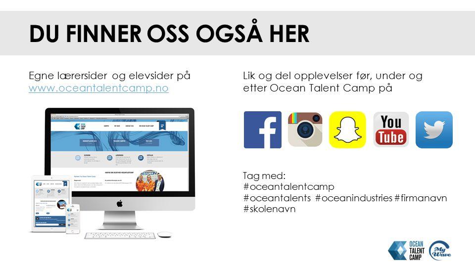 NAVNELAPP OG FIRMAPRESENTASJON NAVNELAPPEN Navnelappen forteller deg hvilken bedrift du er ansatt i under Ocean Talent Camp.