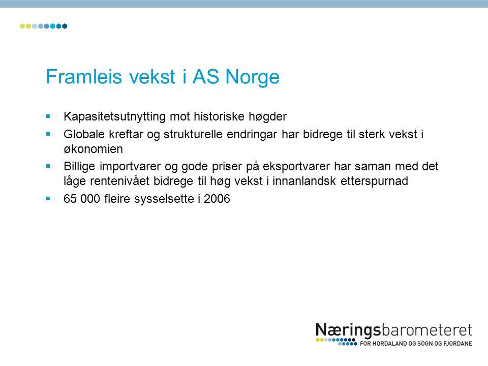 Næringslivet treng 2000 nye medarbeidarar  Høg etterspurnad etter arbeidskraft  Svært gode marknadsutsikter for 2007  Talet på verksemder med rekrutteringsproblem er dobla det siste året.