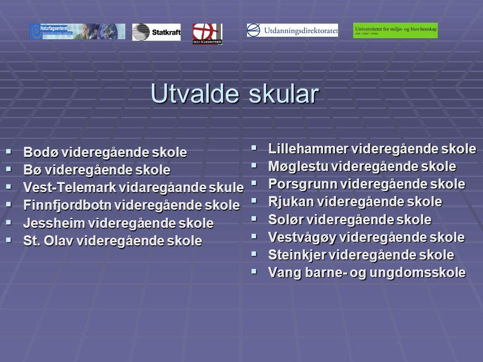 Utvalde skular  Bodø videregående skole  Bø videregående skole  Vest-Telemark vidaregåande skule  Finnfjordbotn videregående skole  Jessheim videregående skole  St.