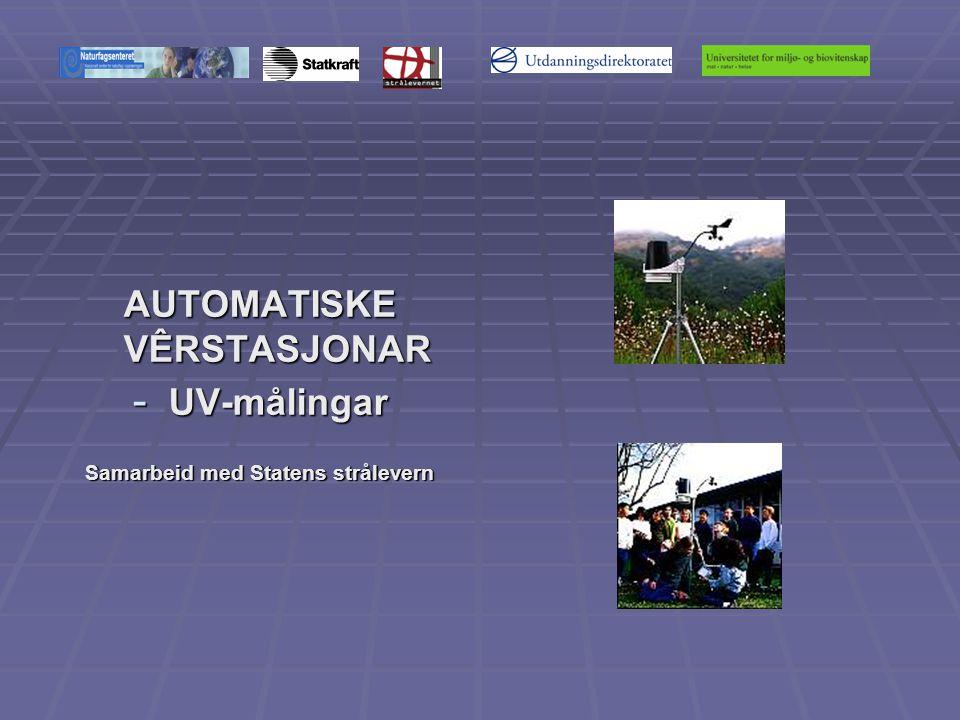 AUTOMATISKE VÊRSTASJONAR - UV-målingar Samarbeid med Statens strålevern