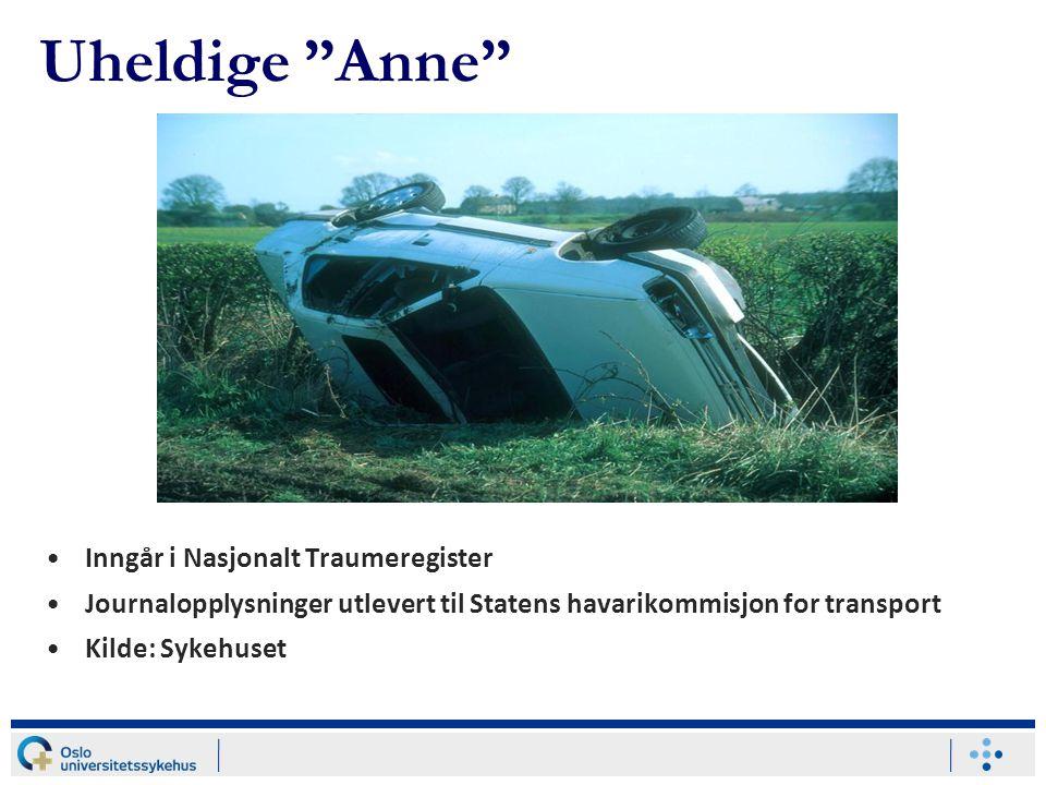 """Uheldige """"Anne"""" Inngår i Nasjonalt Traumeregister Journalopplysninger utlevert til Statens havarikommisjon for transport Kilde: Sykehuset"""