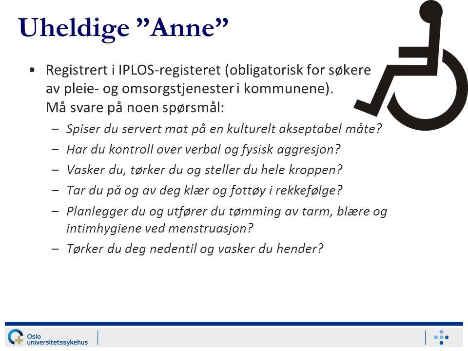 Registrert i IPLOS-registeret (obligatorisk for søkere av pleie- og omsorgstjenester i kommunene). Må svare på noen spørsmål: –Spiser du servert mat p