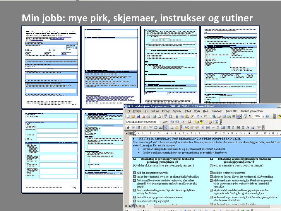Min jobb: mye pirk, skjemaer, instrukser og rutiner