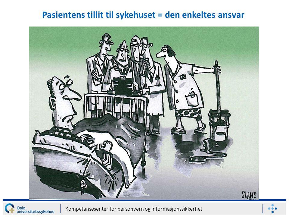 Kompetansesenter for personvern og informasjonssikkerhet Pasientens tillit til sykehuset = den enkeltes ansvar