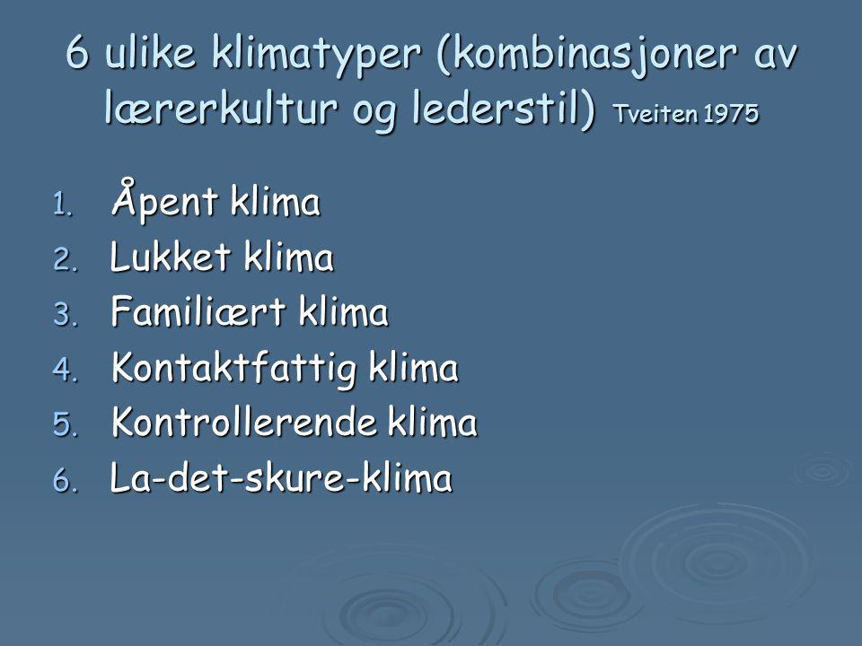 6 ulike klimatyper (kombinasjoner av lærerkultur og lederstil) Tveiten 1975 1.