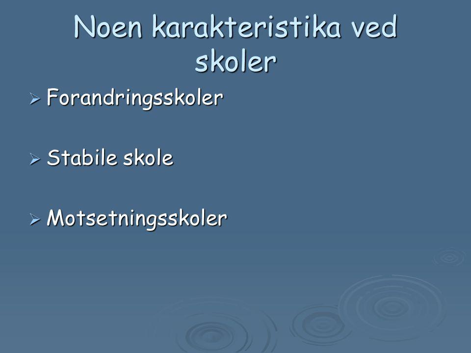 Noen karakteristika ved skoler  Forandringsskoler  Stabile skole  Motsetningsskoler