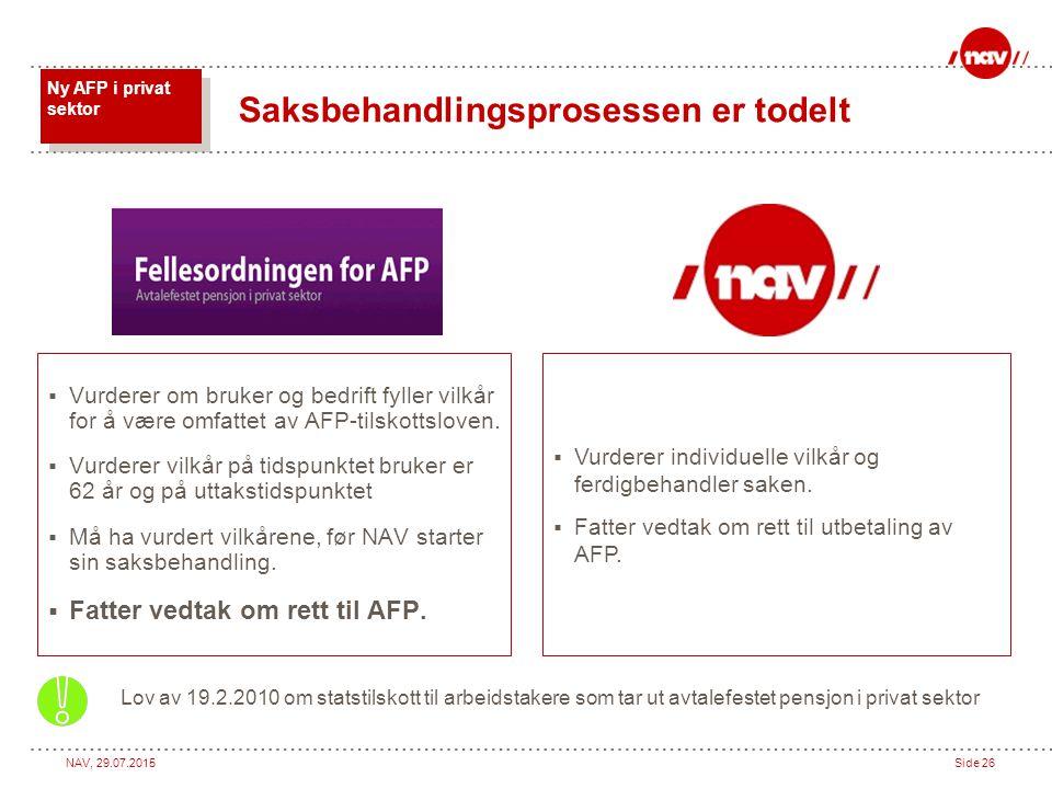 NAV, 29.07.2015Side 26  Vurderer om bruker og bedrift fyller vilkår for å være omfattet av AFP-tilskottsloven.  Vurderer vilkår på tidspunktet bruke