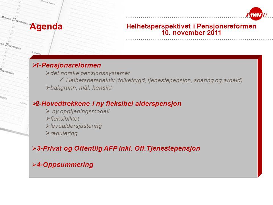 Agenda  1-Pensjonsreformen  det norske pensjonssystemet Helhetsperspektiv (folketrygd, tjenestepensjon, sparing og arbeid)  bakgrunn, mål, hensikt
