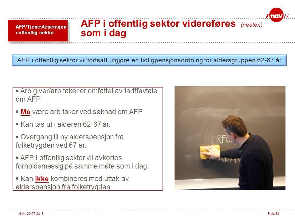NAV, 29.07.2015Side 33 AFP i offentlig sektor videreføres (nesten) som i dag  Arb.giver/arb.taker er omfattet av tariffavtale om AFP  Må være arb.ta