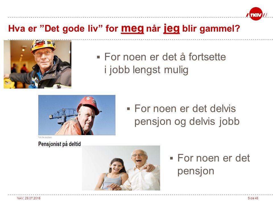 """NAV, 29.07.2015Side 45 megjeg Hva er """"Det gode liv"""" for meg når jeg blir gammel?  For noen er det pensjon  For noen er det å fortsette i jobb lengst"""