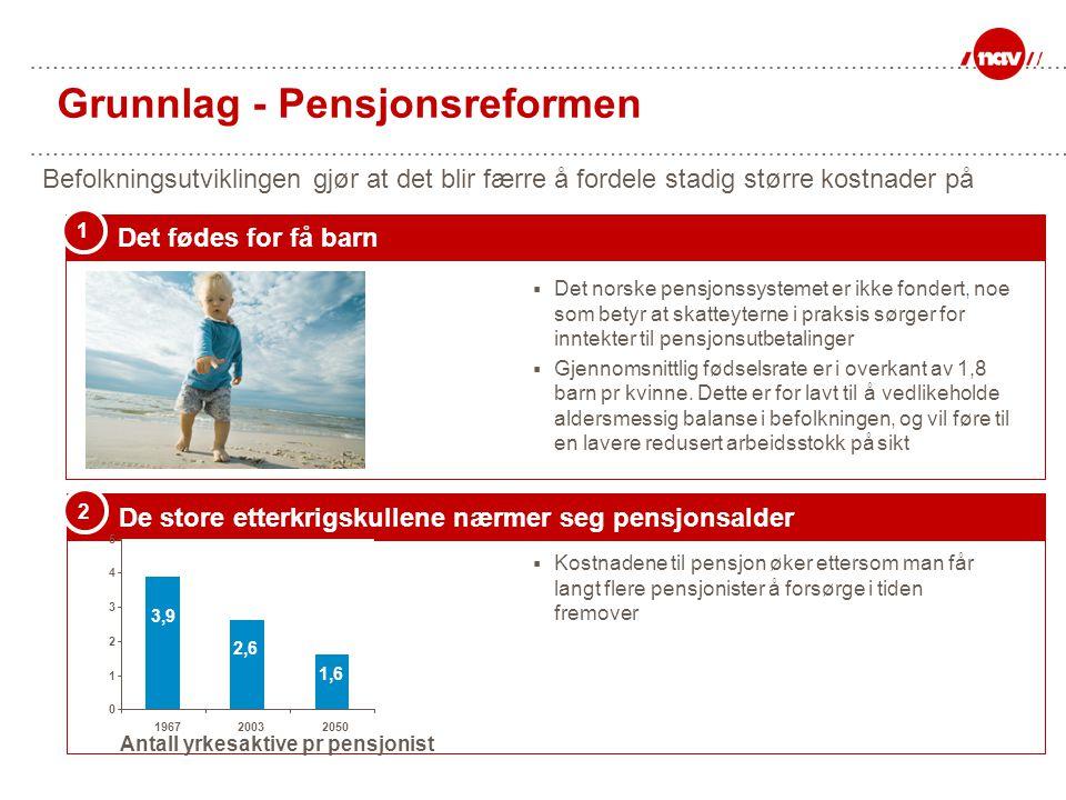 Grunnlag - Pensjonsreformen De store etterkrigskullene nærmer seg pensjonsalder 2  Kostnadene til pensjon øker ettersom man får langt flere pensjonis