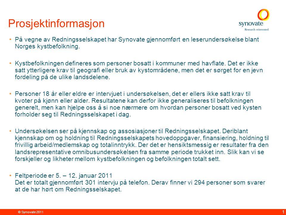 © Synovate 2011 22 Det er flest menn og personer fra Nord- Norge som ønsker å jobbe som frivillig Spm: Kunne du tenke deg å delta i Redningsselskapets frivillige arbeid.