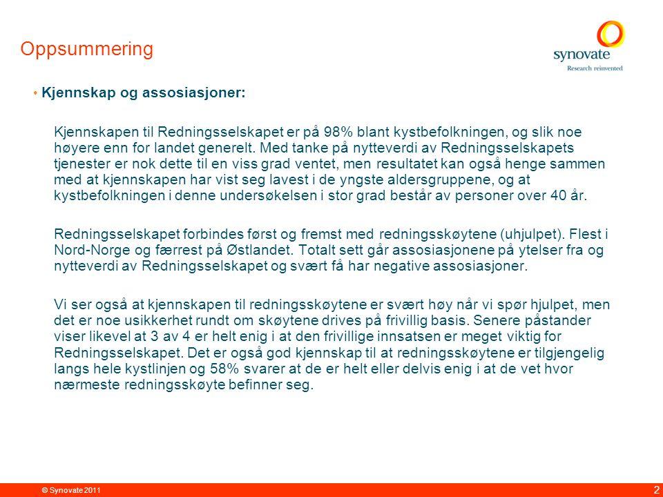 © Synovate 2011 2 Oppsummering Kjennskap og assosiasjoner: Kjennskapen til Redningsselskapet er på 98% blant kystbefolkningen, og slik noe høyere enn for landet generelt.