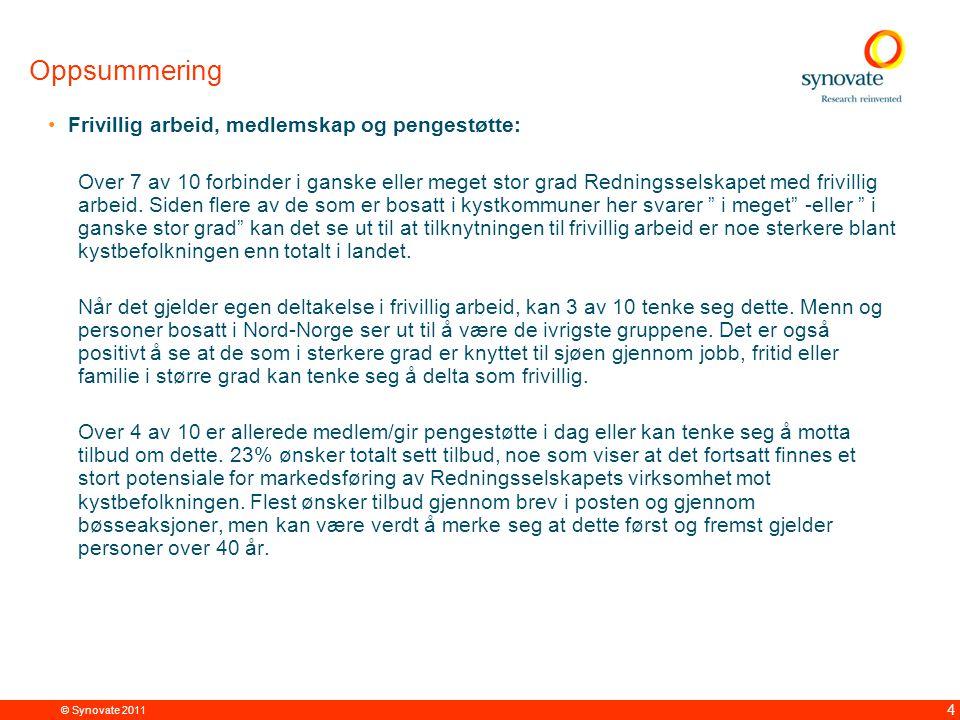 © Synovate 2011 5 Oppsummering Finansiering av Redningsselskapet: Giverkampanjer og medlemsinntekter sees som viktigste kilder til finansiering av Redningsselskapets virksomhet.