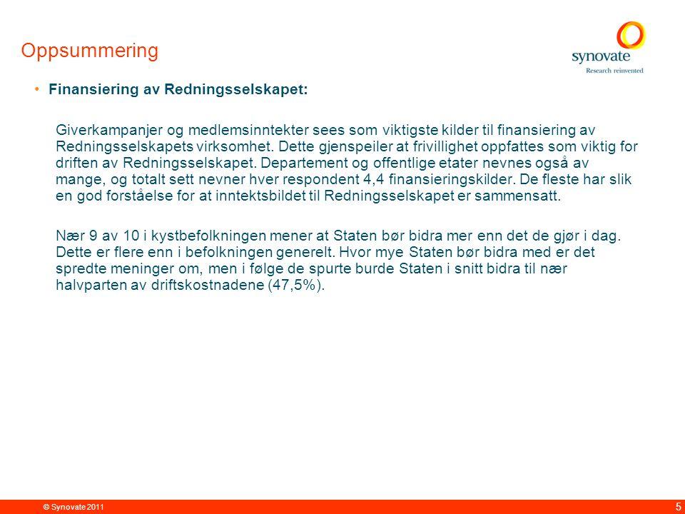 © Synovate 2011 6 Kjennskap og assosiasjoner til Redningsselskapet