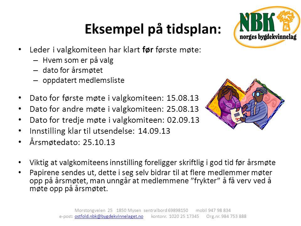 Eksempel på tidsplan: Morstongveien 25 1850 Mysen sentralbord 69898150 mobil 947 98 834 e-post: ostfold.nbk@bygdekvinnelaget.no kontonr. 1020 25 17345