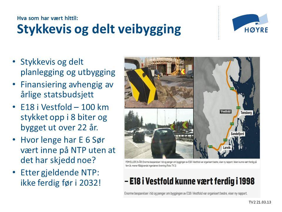 Stykkevis og delt planlegging og utbygging Finansiering avhengig av årlige statsbudsjett E18 i Vestfold – 100 km stykket opp i 8 biter og bygget ut over 22 år.