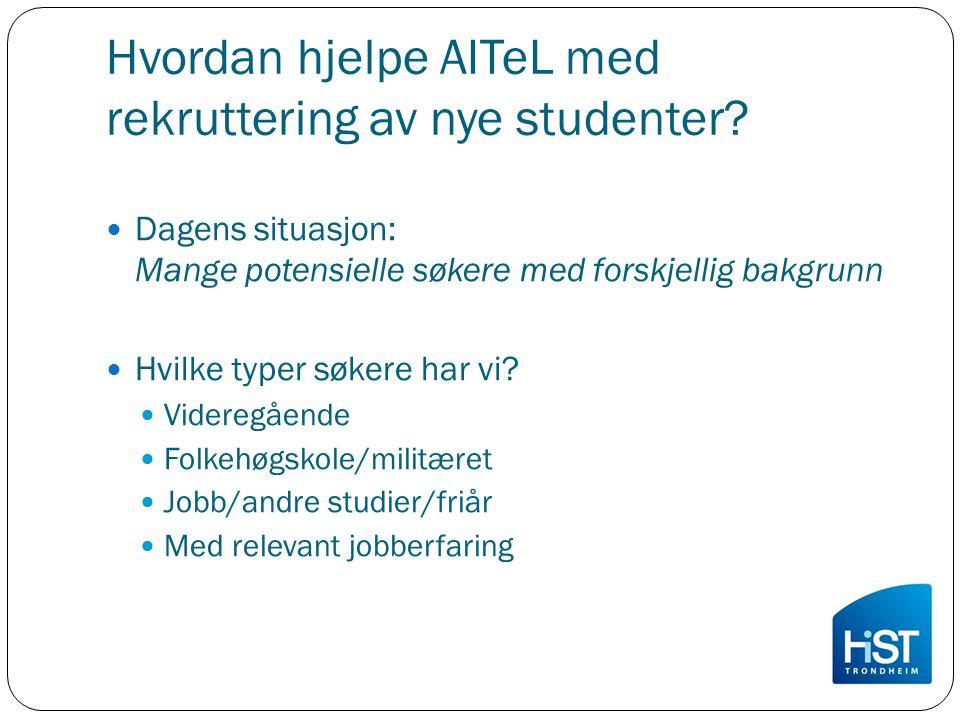 Hvordan hjelpe AITeL med rekruttering av nye studenter? Dagens situasjon: Mange potensielle søkere med forskjellig bakgrunn Hvilke typer søkere har vi