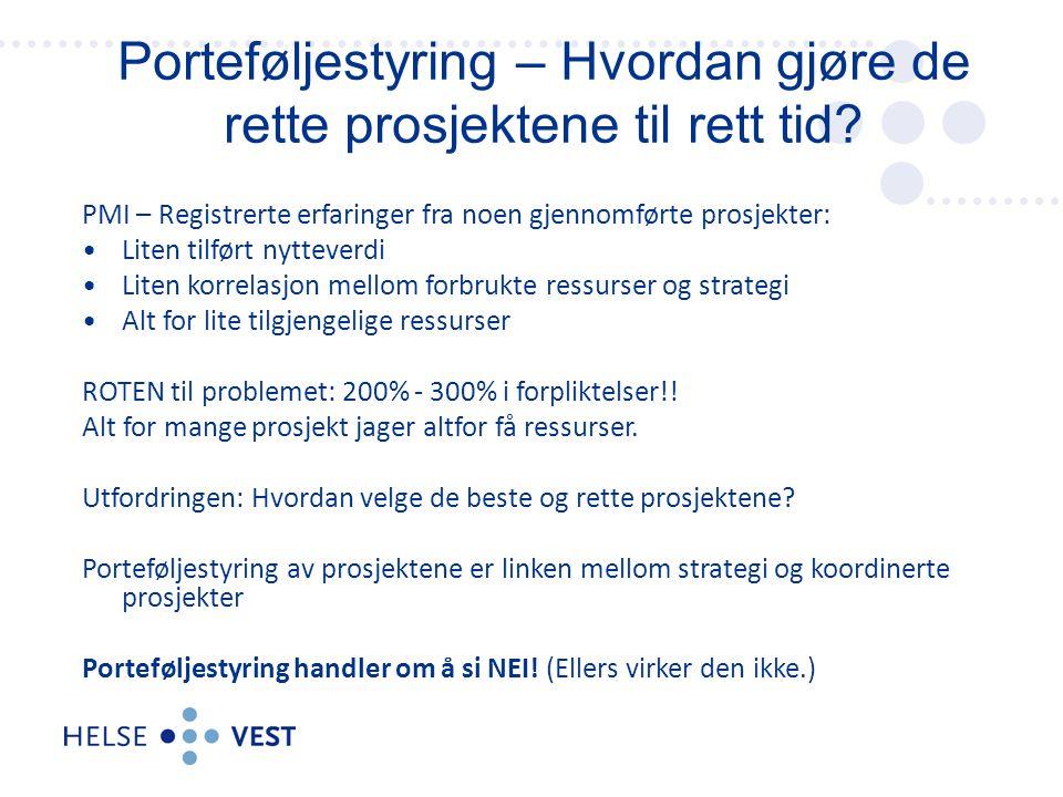 PMI – Registrerte erfaringer fra noen gjennomførte prosjekter: Liten tilført nytteverdi Liten korrelasjon mellom forbrukte ressurser og strategi Alt f