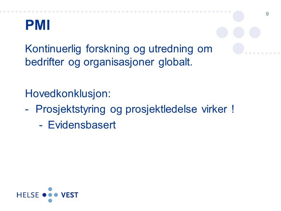 PMI – Registrerte erfaringer fra noen gjennomførte prosjekter: Liten tilført nytteverdi Liten korrelasjon mellom forbrukte ressurser og strategi Alt for lite tilgjengelige ressurser ROTEN til problemet: 200% - 300% i forpliktelser!.