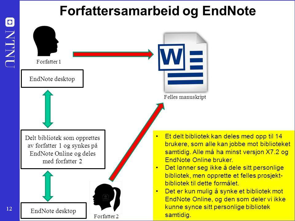 12 Forfattersamarbeid og EndNote Delt bibliotek som opprettes av forfatter 1 og synkes på EndNote Online og deles med forfatter 2 EndNote desktop Forf