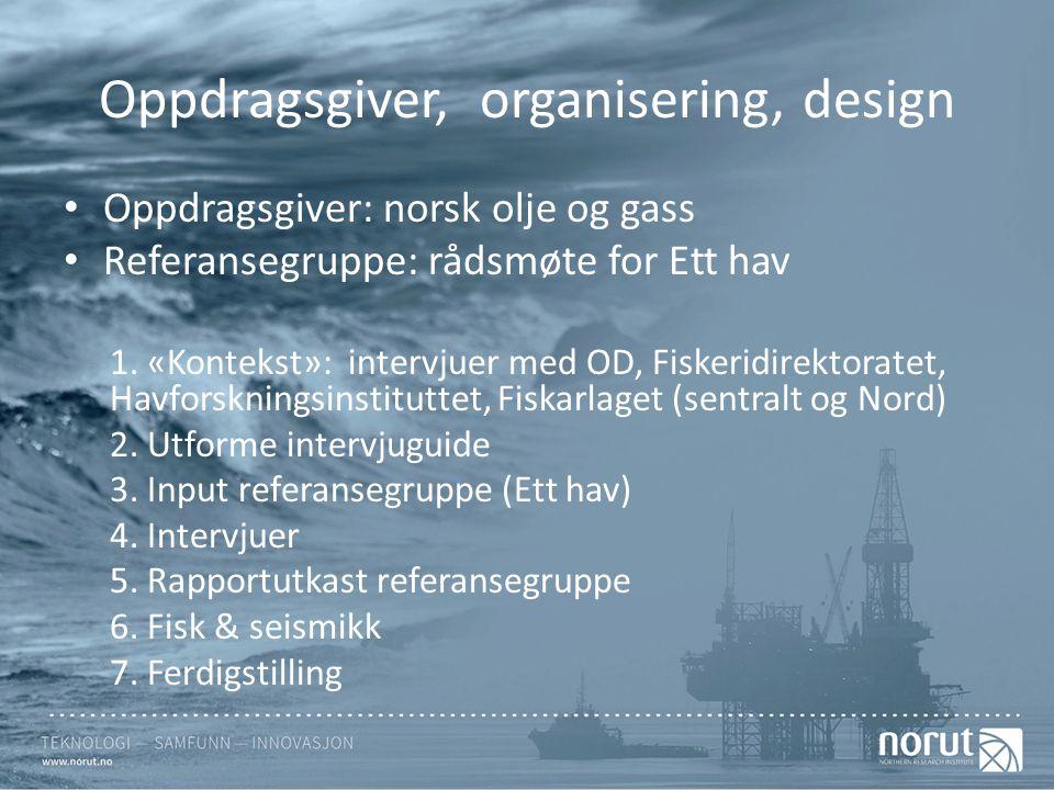 Oppdragsgiver, organisering, design Oppdragsgiver: norsk olje og gass Referansegruppe: rådsmøte for Ett hav 1.