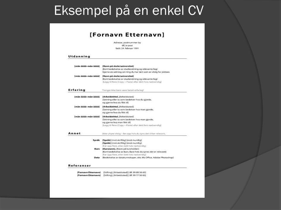 Eksempel på en enkel CV