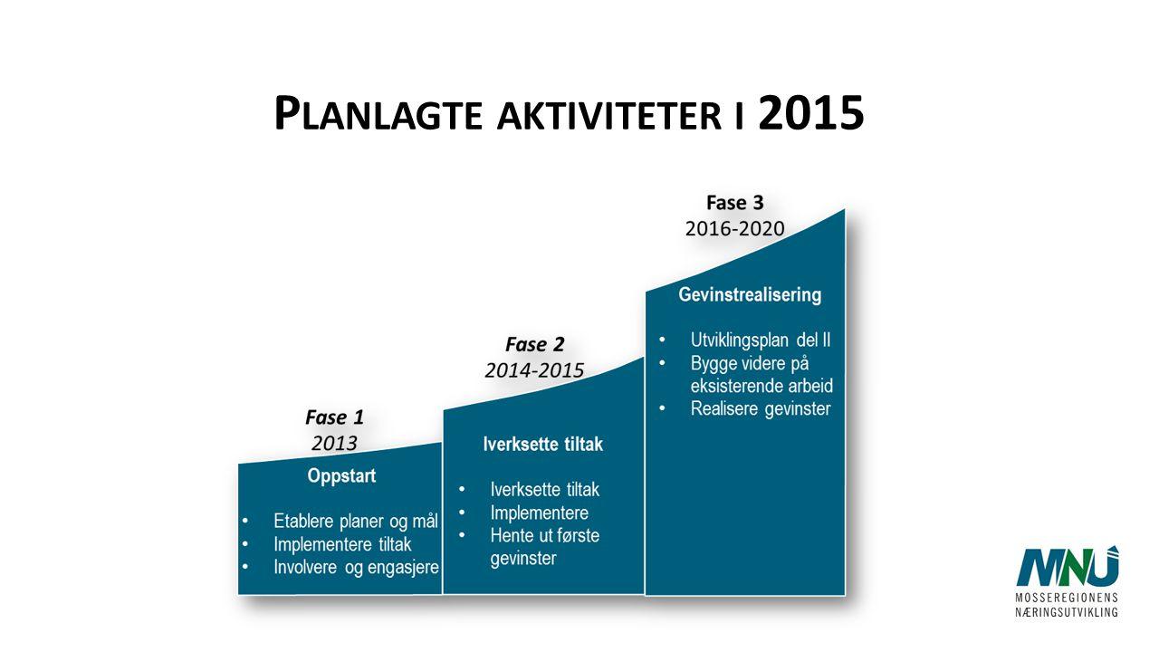 P LANLAGTE AKTIVITETER I 2015 Fase 1 2013 Fase 2 2014-2015 Fase 3 2016-2020