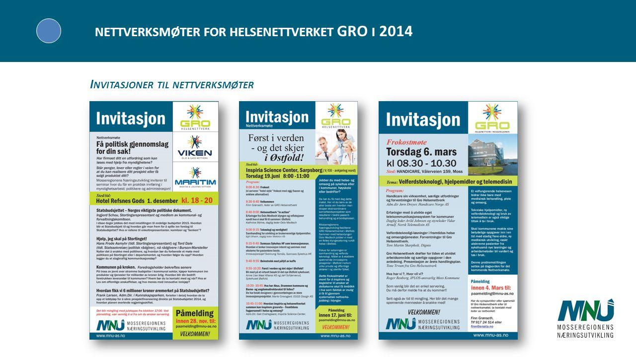 Visjon NETTVERKSMØTER FOR HELSENETTVERKET GRO I 2014 I NVITASJONER TIL NETTVERKSMØTER