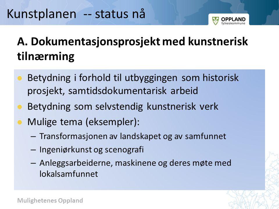 Mulighetenes Oppland A. Dokumentasjonsprosjekt med kunstnerisk tilnærming Betydning i forhold til utbyggingen som historisk prosjekt, samtidsdokumenta