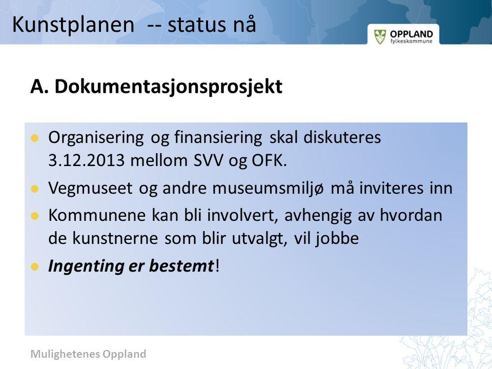 Mulighetenes Oppland A. Dokumentasjonsprosjekt Organisering og finansiering skal diskuteres 3.12.2013 mellom SVV og OFK. Vegmuseet og andre museumsmil