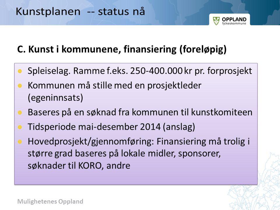 Mulighetenes Oppland C. Kunst i kommunene, finansiering (foreløpig)